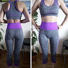 Лосины и топ серые с фиолетовым#27f (Размер: M) для спорта, фото 9