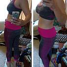 Лосины для фитнеса леггинсы для спорта серые розовые №27p (Размер: L), фото 3