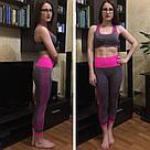 Лосины для фитнеса леггинсы для спорта серые розовые №27p (Размер: L), фото 6