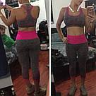 Лосины для фитнеса леггинсы для спорта серые розовые №27p (Размер: L), фото 10