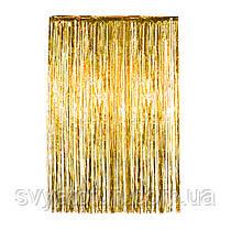 Шторка фольгированная для фотозоны золото 1х2м