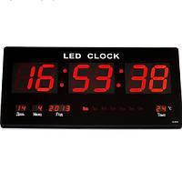 Настенные  Led часы с подсветкой 3615 red, Электронные часы, будильник, календарь