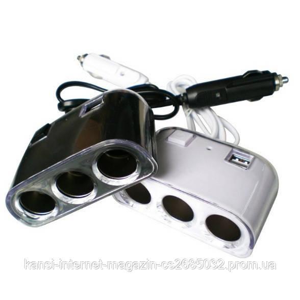 Тройник автомобильный 3+2 USB 1506A / 1505A, автомобильный тройник сплитер