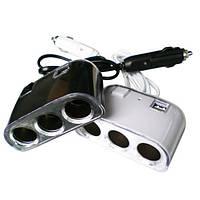 Тройник автомобильный 3+2 USB 1506A / 1505A, автомобильный тройник сплитер, фото 1