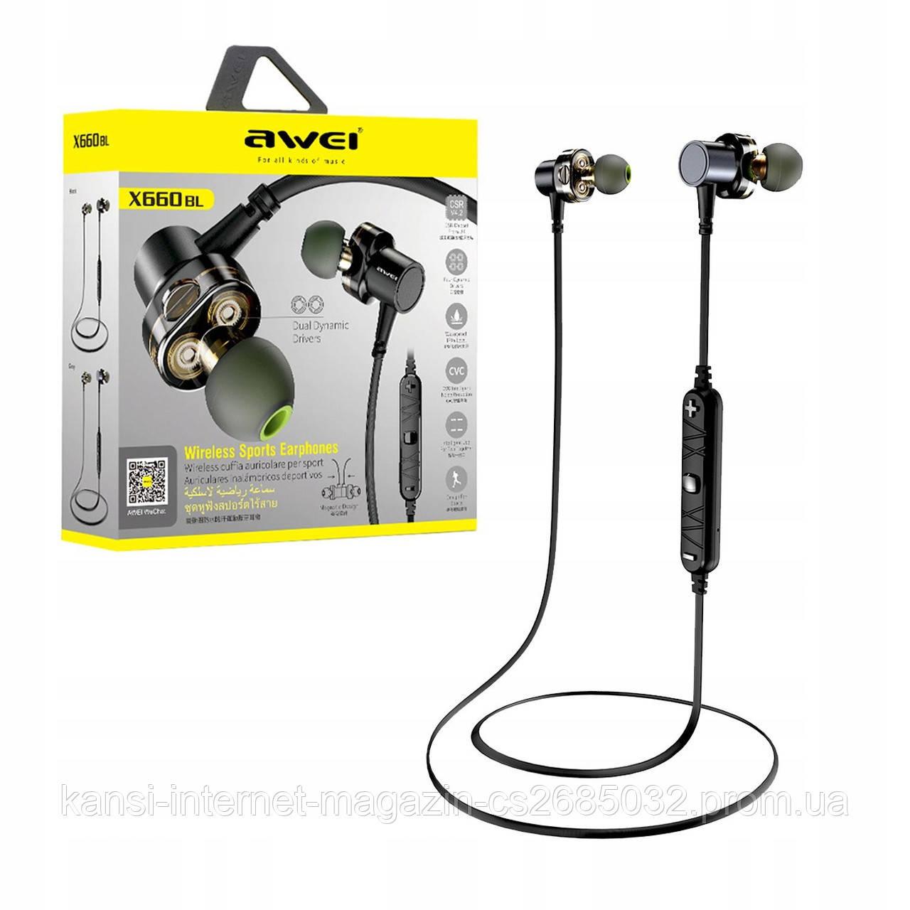 Бездротові Bluetooth-навушники Awei X660BL, вакуумні навушники, спортивні навушники c Вluetooth