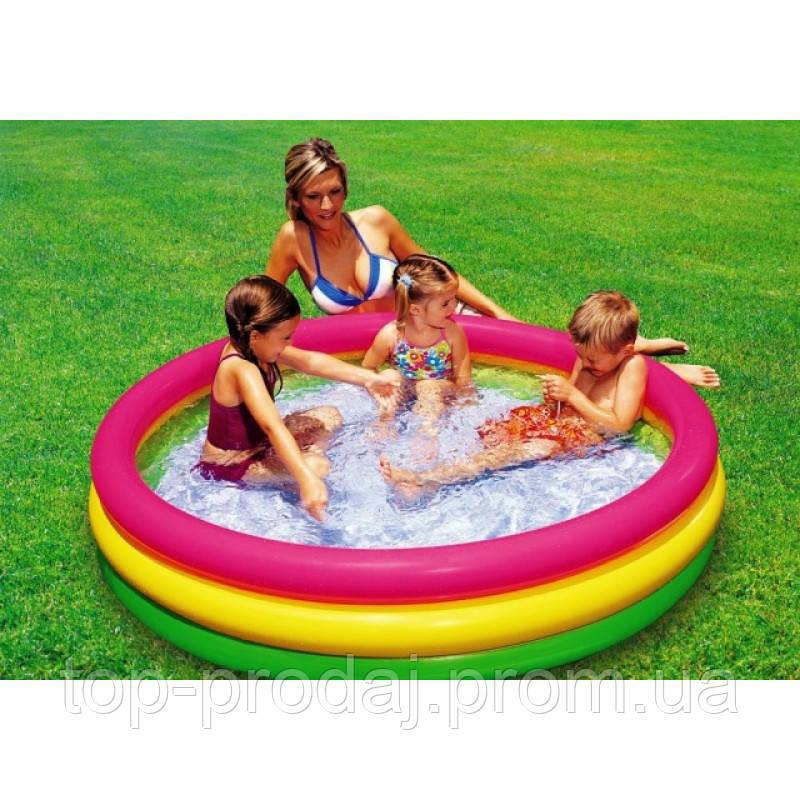 Бассейн детский 57412 с надувным дном 114*25см, Надувной круглый бассейн, Бассейн для ребенка с мягким дном