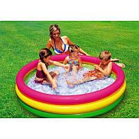 Бассейн детский 57412 с надувным дном 114*25см, Надувной круглый бассейн, Бассейн для ребенка с мягким дном, фото 1