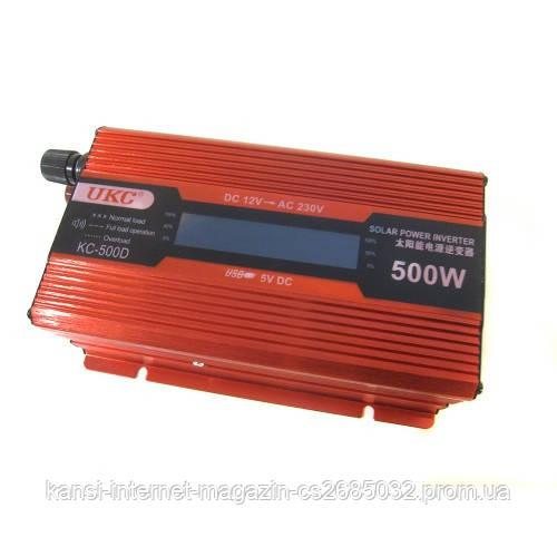 Преобразователь UKC авто инвертор 12V-220V 500W LCD KC-500D, автомобильный инвертор с лсд экраном