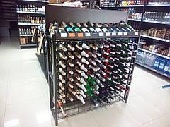 Стойка металлическая для вина, винный стеллаж с ячейками на 64 бутылки