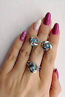 Комплект украшений из серебра с голубыми камнями