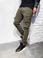 Мужские коттоновые штаны карго хаки #3355-5008