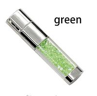 Ювелирная подарочная флешкас зелеными  кристаллами и стразами 16гб