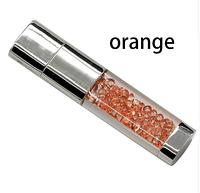 Ювелирная флешка с кристаллами оранжевая Flash Memorystick 16гб, фото 1