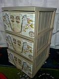 Комод пластиковый элиф ПТИЦЫ на 3 ящика, фото 2