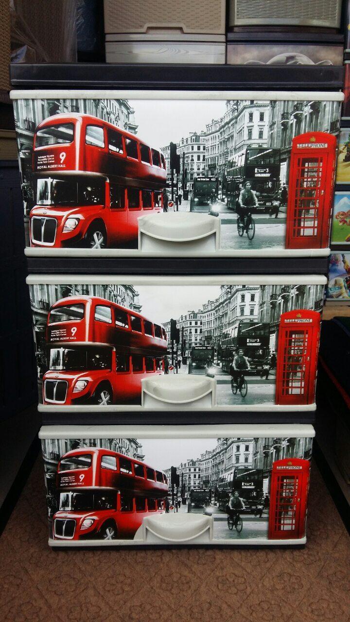 Комод пластиковый элиф Лондон на 3 ящика
