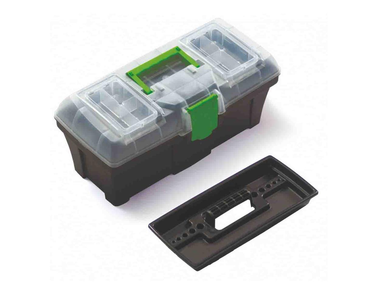 Ящик для инструментов с с органайзером в крышке Green box 25 пластиковый ТМ приговор 597 x 285 x 320 мм -