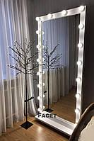 """Напольное зеркало с подсветкой """"Фози"""" на 18 ламп для салона красоты"""