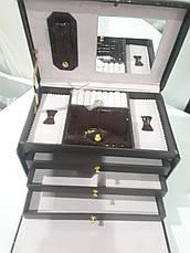 Кожаная шкатулка для украшений с вкладышем Brown  (88504-1), фото 3
