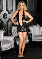 Короткое секси платье с блестками и глубоким декольте (M, черный)