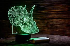 """Сменная пластина для 3D ламп """"Трицераптор"""" 3DTOYSLAMP"""