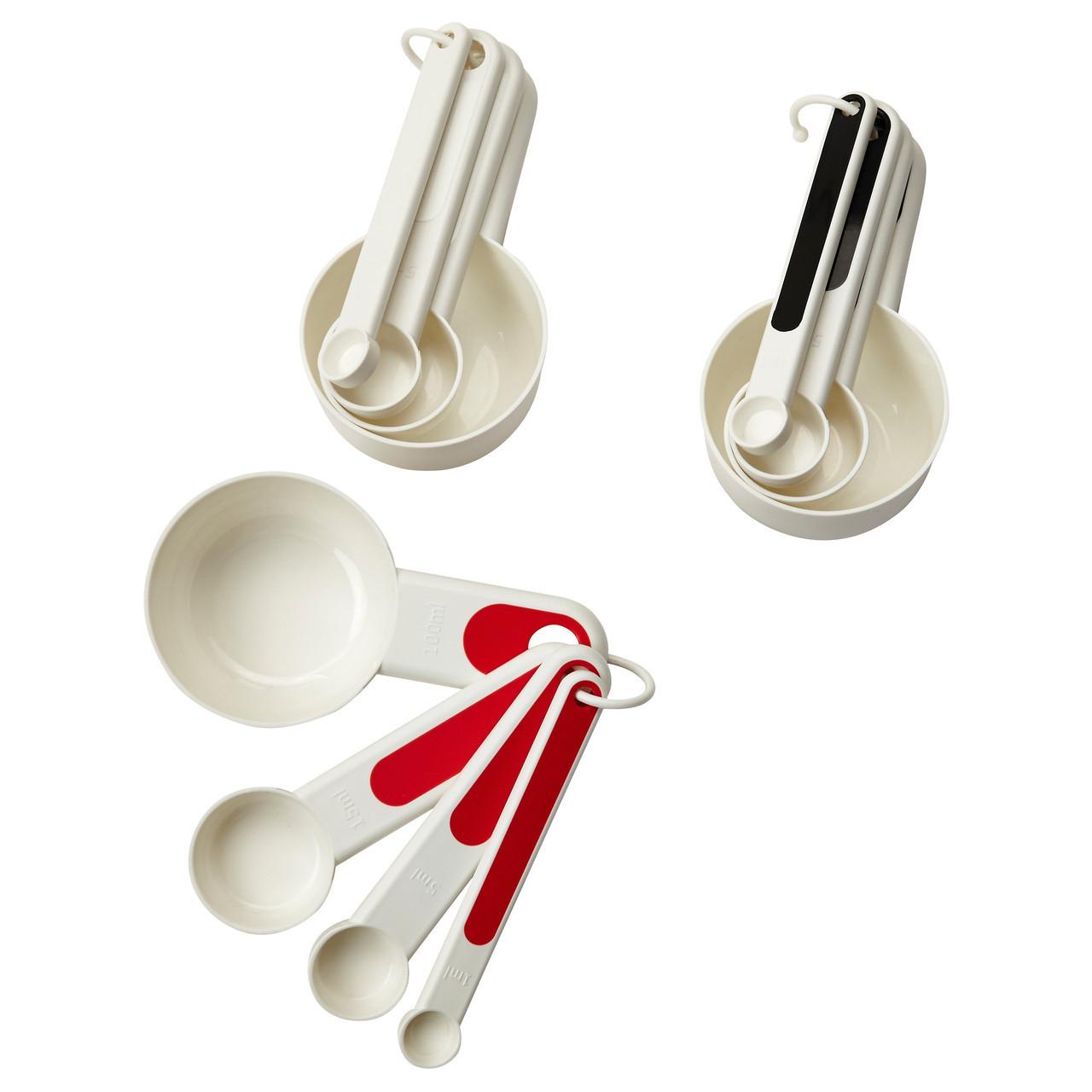 Мерные емкости икеа STÄM,4 штуки, красный, белый/черный, IKEA, 102.332.59
