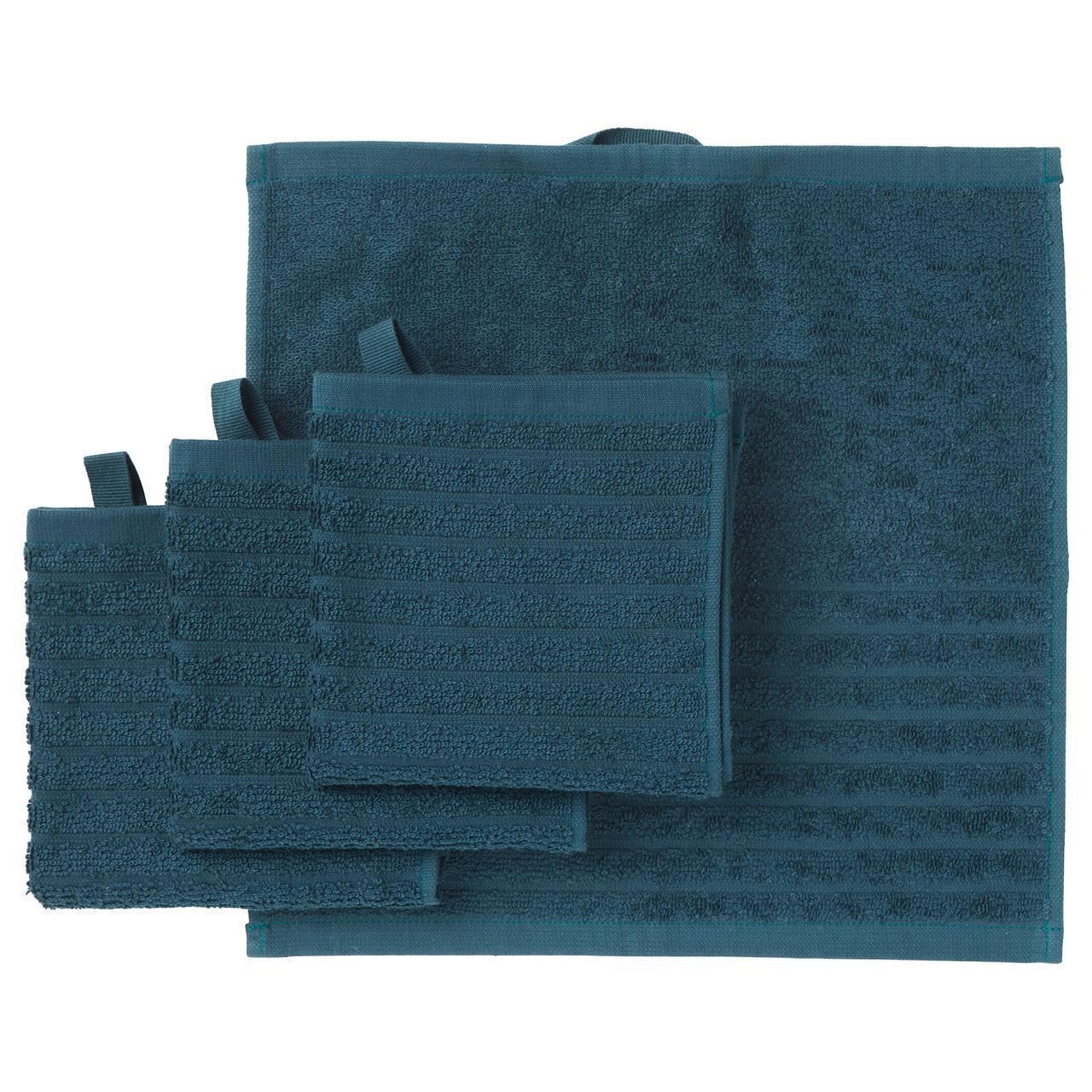 Набір рушників IKEA VÅGSJÖN 4 шт 30x30 см темно-синій 503.535.94