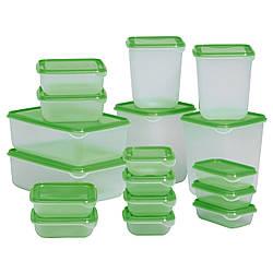 Набор контейнеров икеа PRUTA для хранения, 17 шт., прозрачный, зеленый, IKEA, 601.496.73