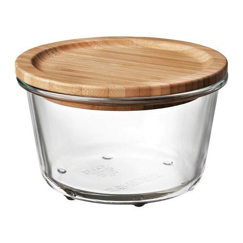 Контейнер для хранения продуктов IKEA 365+ 600 мл круглый с крышкой бамбук стекло 692.690.91