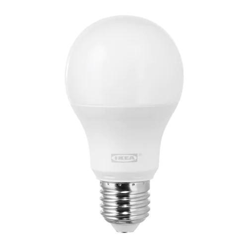 Светодиодная лампа IKEA LEDARE LED E27 1000 лм 1 шт шарообразный теплый оттенок молочный 003.657.35