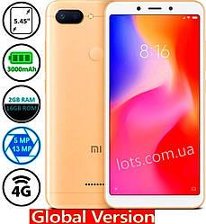 Смартфон Xiaomi Redmi 6A 2/16Gb MIUI 10 Gold 4G (Global)+защитное стекло в подарок