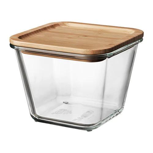 Контейнер для зберігання продуктів IKEA 365+ 1.2 л квадратний з кришкою бамбук скло 292.691.11