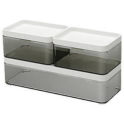 Набор емкостей IKEA BROGRUND 3 шт прозрачные серые белые 103.290.92