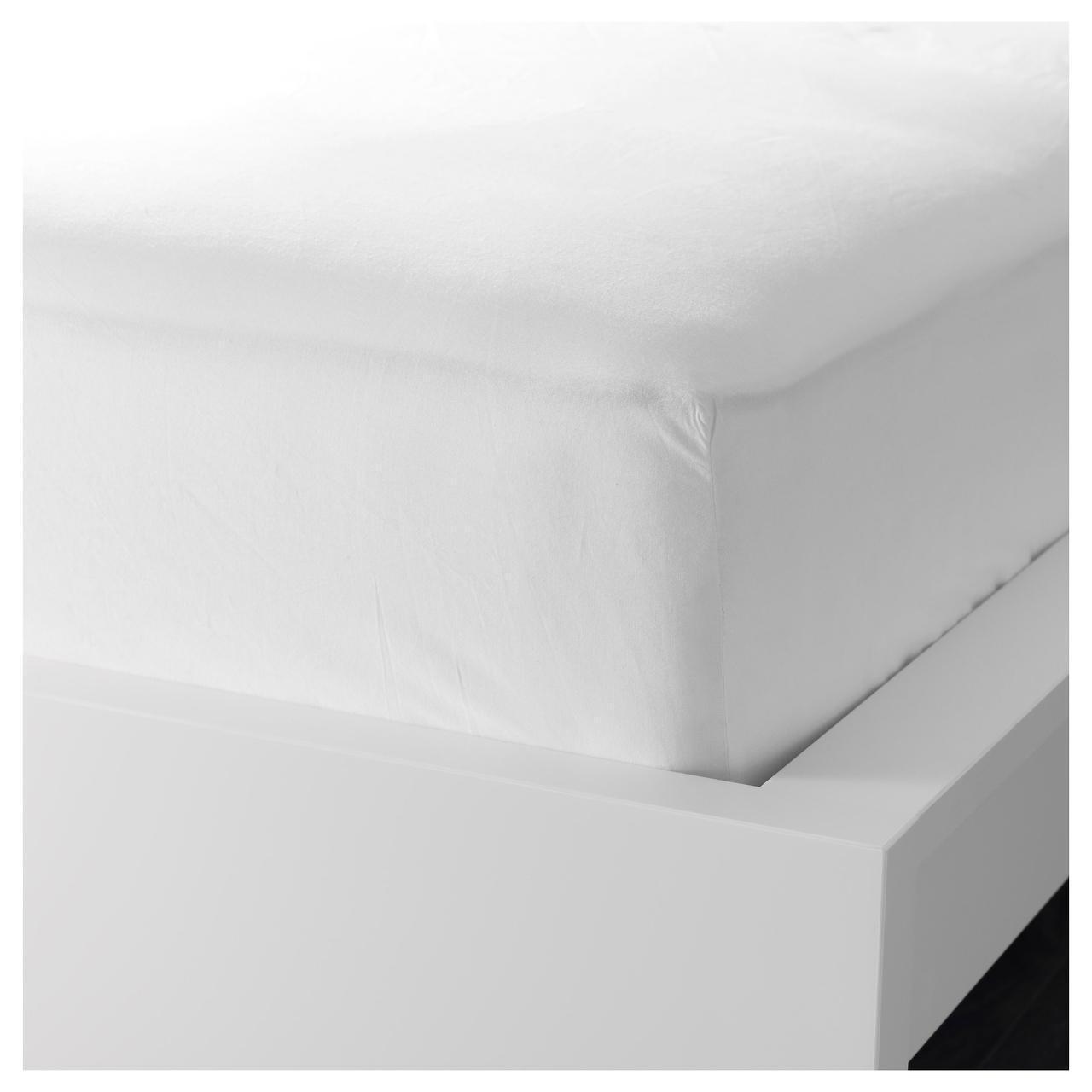 Простыня на резинке IKEA DVALA 140х200 см белая 103.572.16