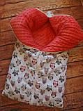 Теплый конверт-трансформер на выписку и для прогулок  для  девочек Совята, фото 2