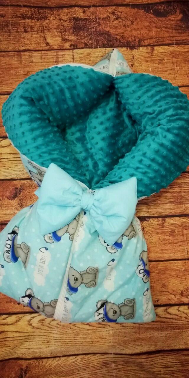 Всесезонный конверт-плед на молниях   для новорожденных