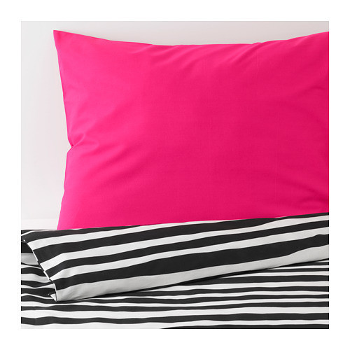 Комплект постельного белья IKEA URSKOG 150x200/50x60 см черно-белый в полоску розовый 603.938.82
