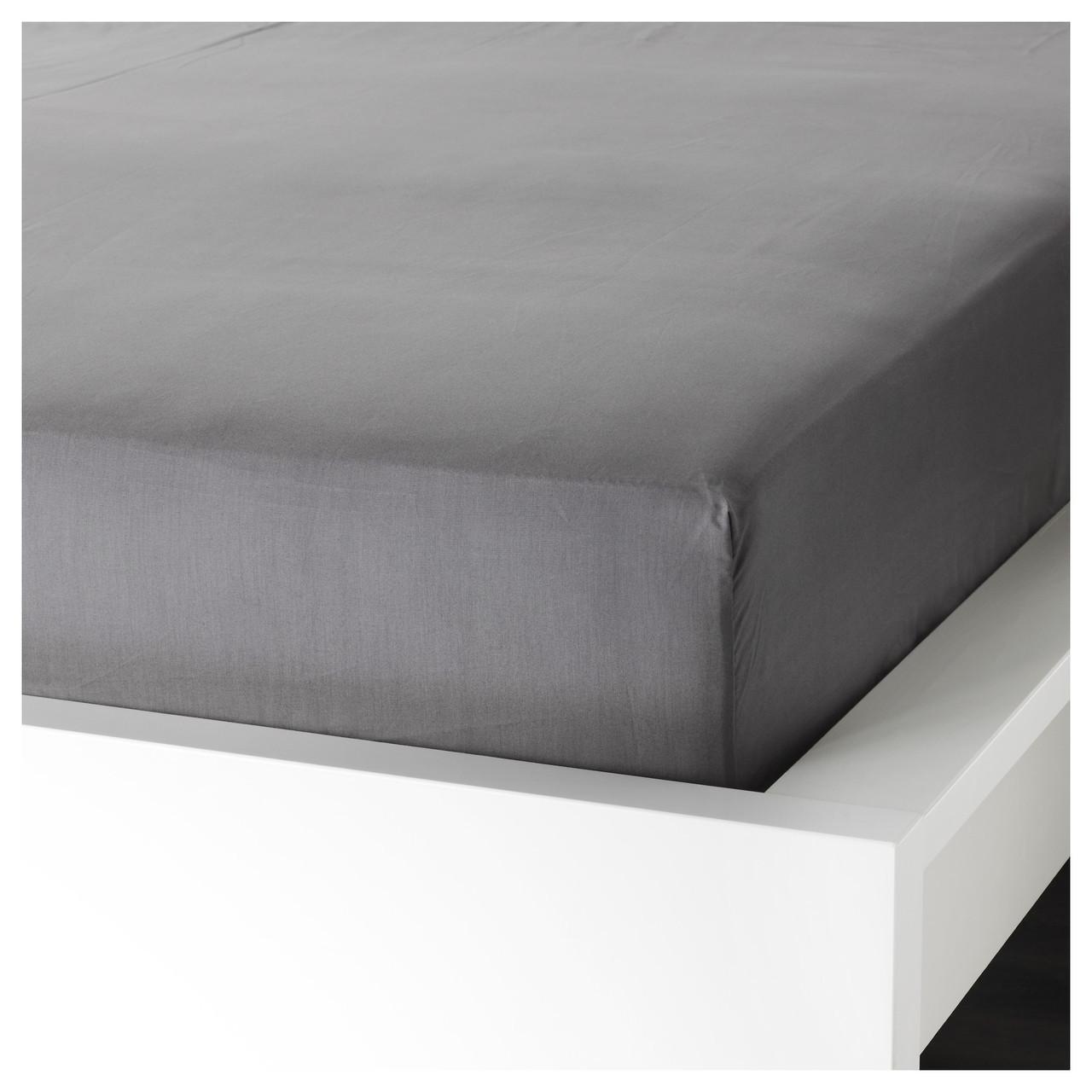 Простыня на резинке IKEA ULLVIDE 180х200 см натяжная серая 703.355.42