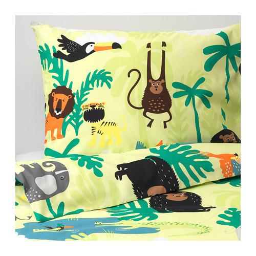Комплект постельного белья IKEA DJUNGELSKOG 150x200/50x60 см с рисунком зверюшки зеленый 203.935.20