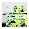 Комплект постельного белья IKEA DJUNGELSKOG 150x200/50x60 см с рисунком зверюшки зеленый 203.935.20, фото 3