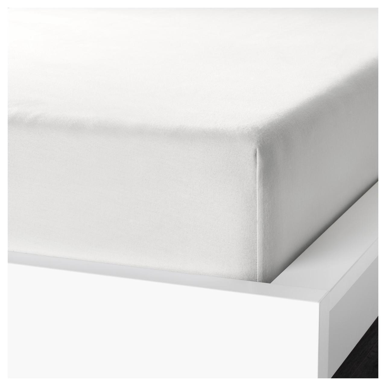 Простыня на резинке IKEA NORDRUTA 180х200 см белая 403.817.95