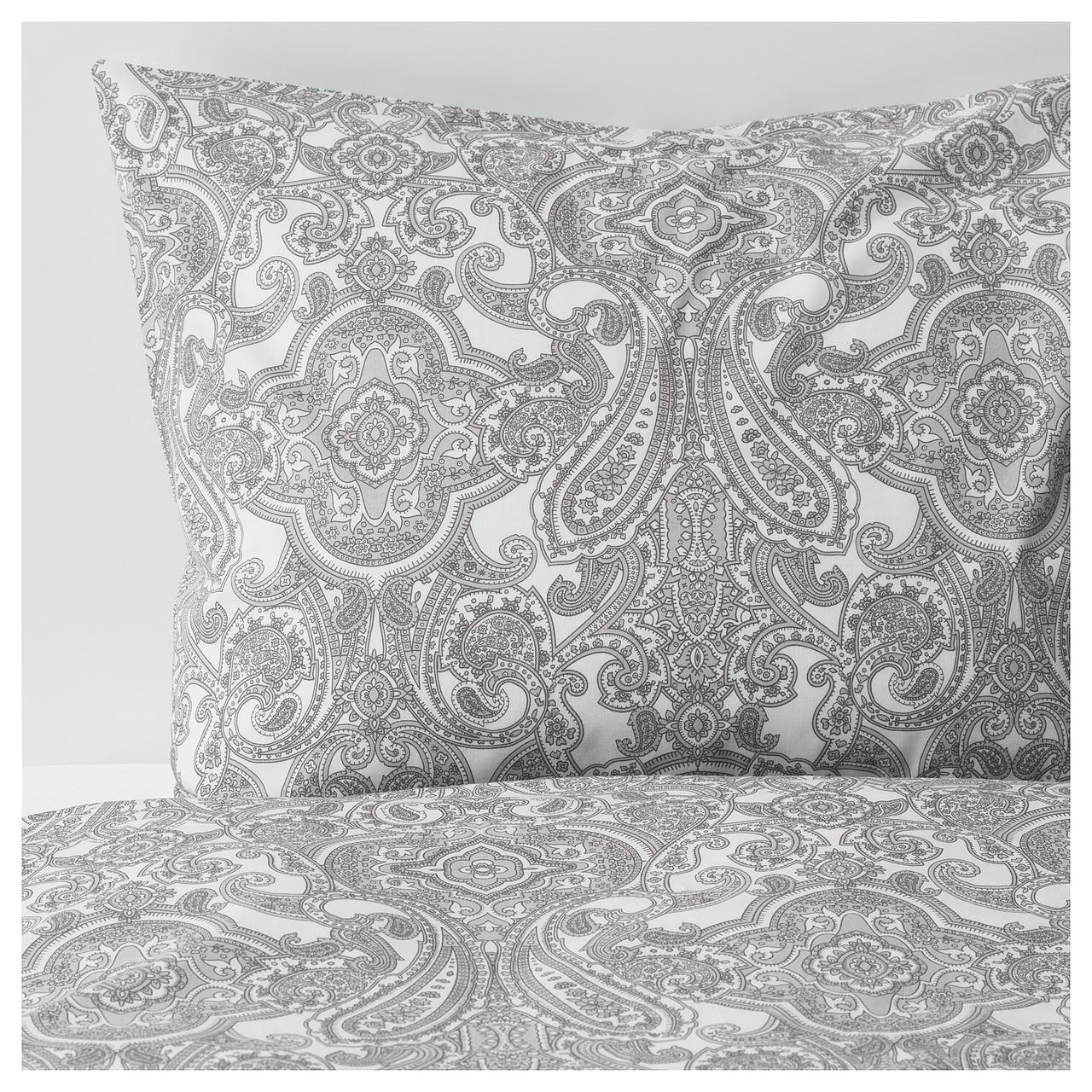 Комплект постельного белья IKEA JÄTTEVALLMO 200х200 см белый серый с узором 104.061.32