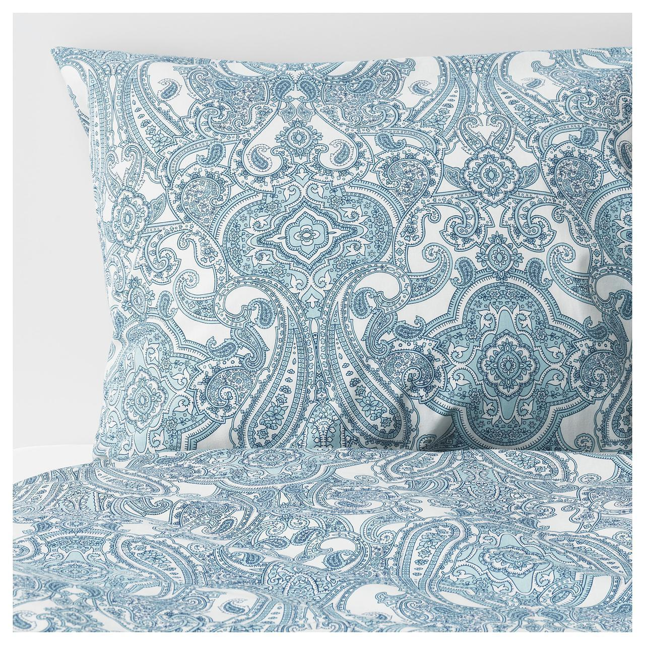Комплект постельного белья IKEA JÄTTEVALLMO 200х200 см белый синий с узором 303.996.92