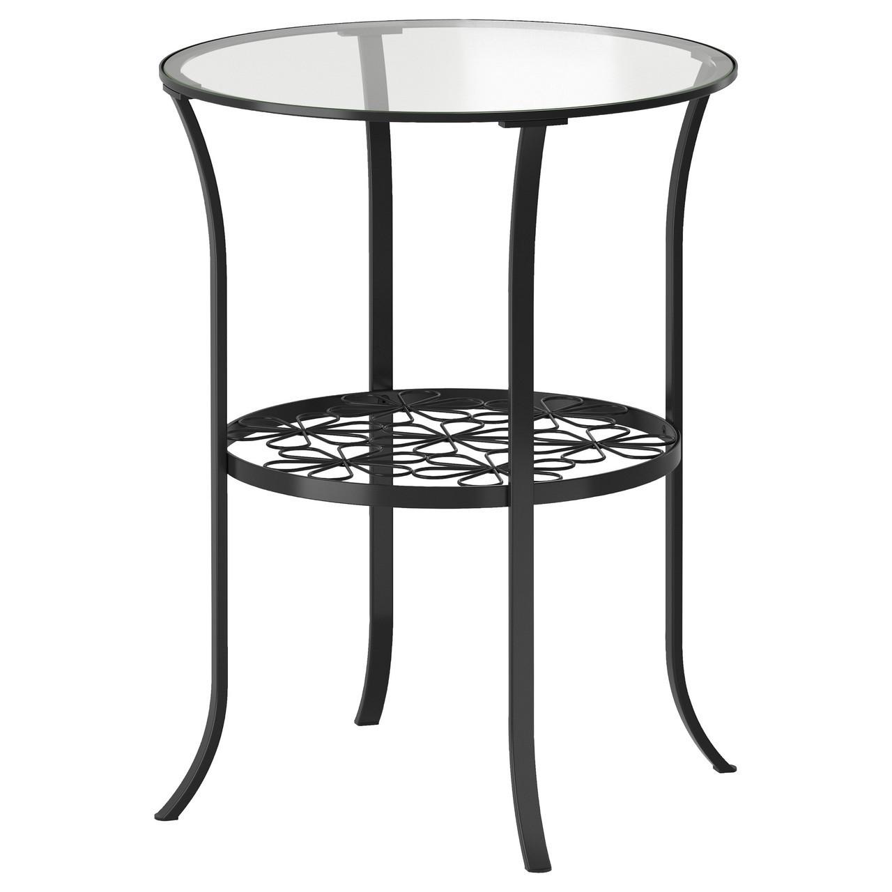 Журнальный столик IKEA KLINGSBO черный стекло бесцветное 201.285.64