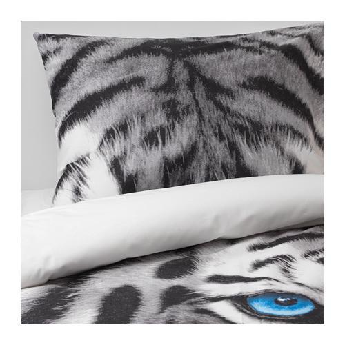 Комплект постельного белья IKEA URSKOG 150x200/50x60 см с рисунком тигра серый 703.938.53