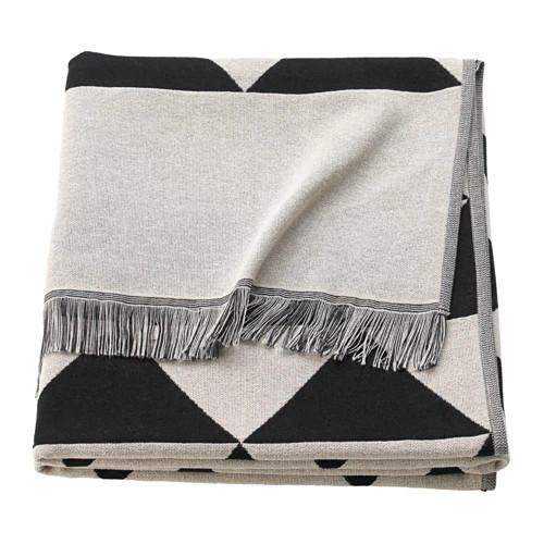 Плед IKEA JOHANNE 130x170 см черный белый бежевый 703.858.48
