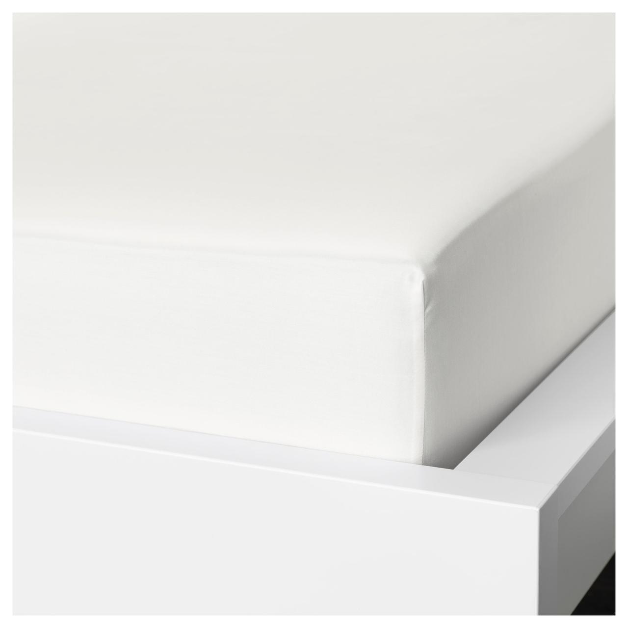 Простыня на резинке IKEA NATTJASMIN 160х200 см белая 603.437.07