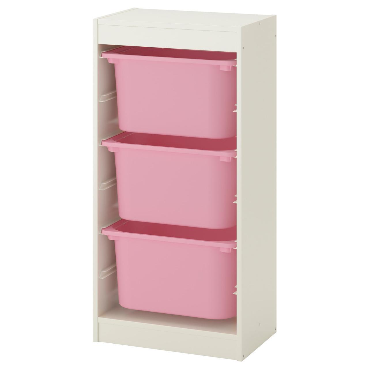 Комод для игрушек IKEA TROFAST 46x30x94 см белый розовый 992.285.70