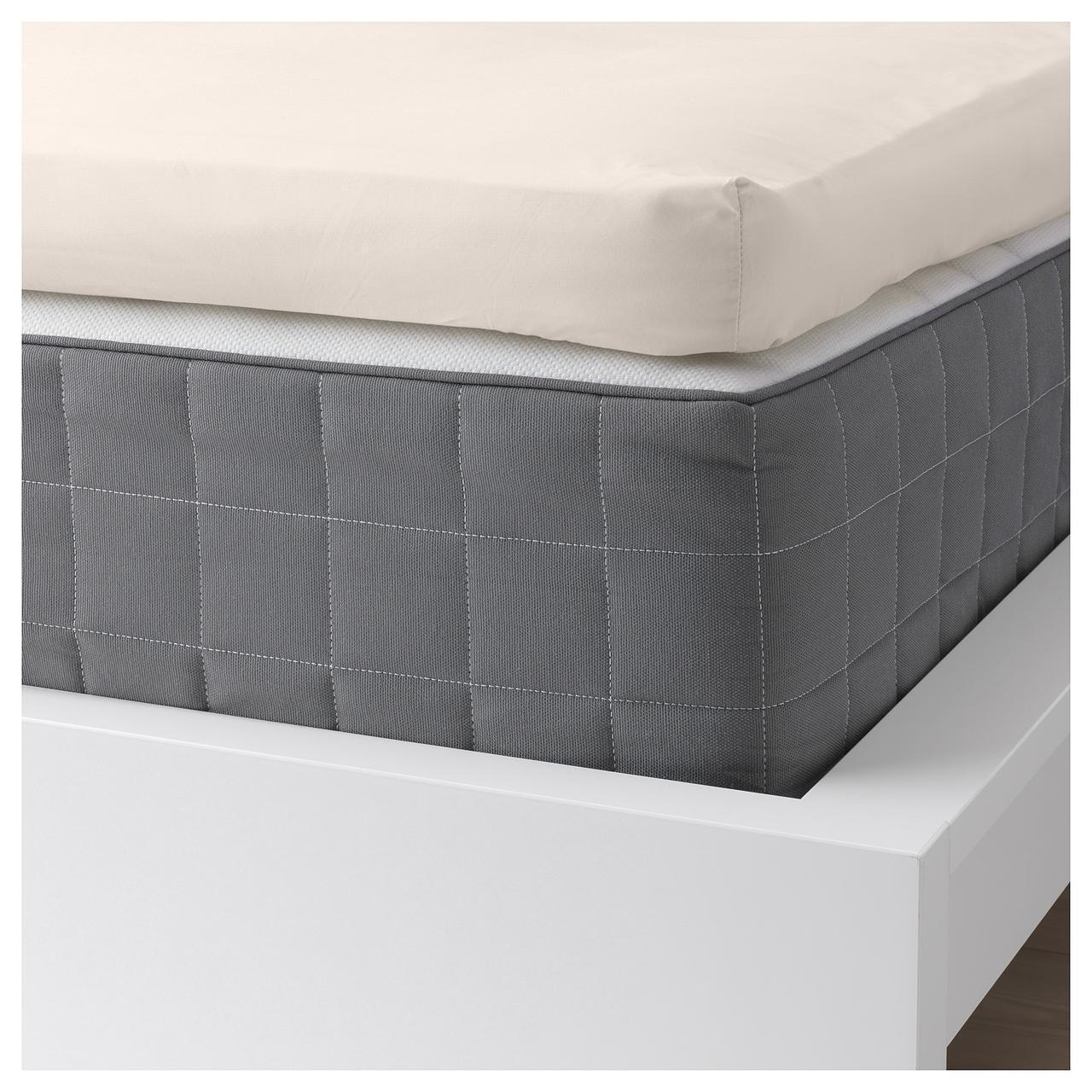 Простыня IKEA SÖMNTUTA 160х200 см на резинке светло-бежевая 404.127.30