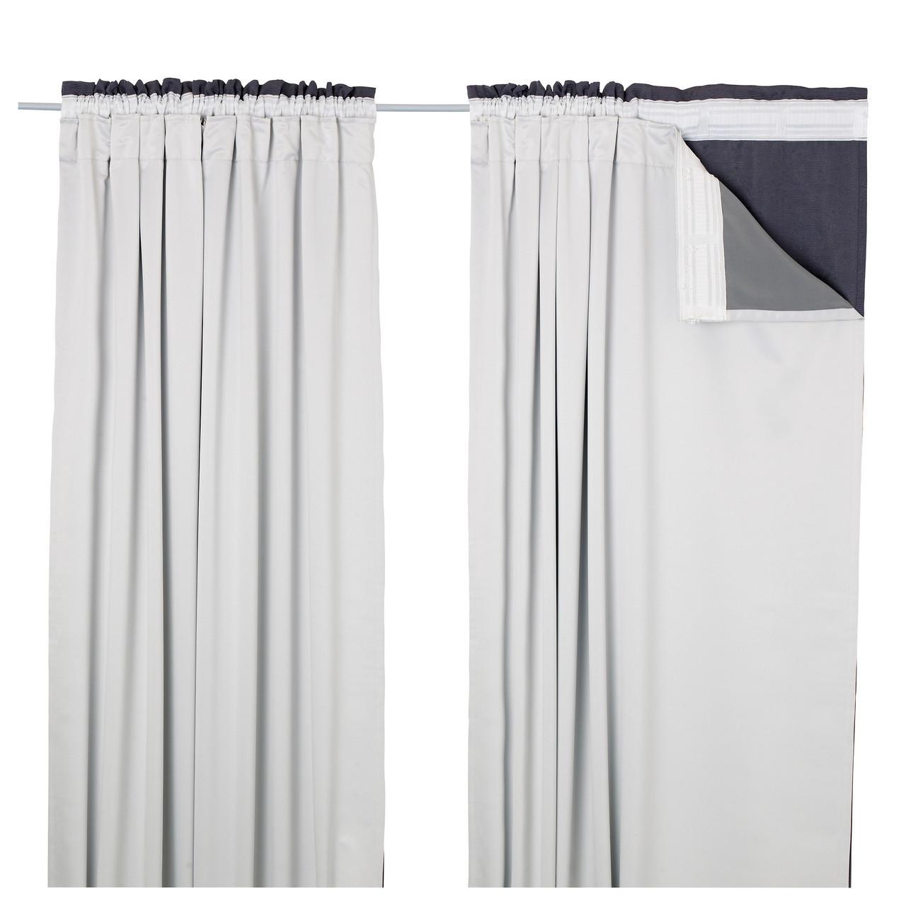 GLANSNÄVA Завеса, 2 панели, светло-серый 702.912.89