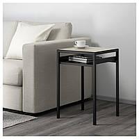 Кофейный столик с двусторонней столешницей IKEA NYBODA 40x40x60 см черный бежевый 203.426.44